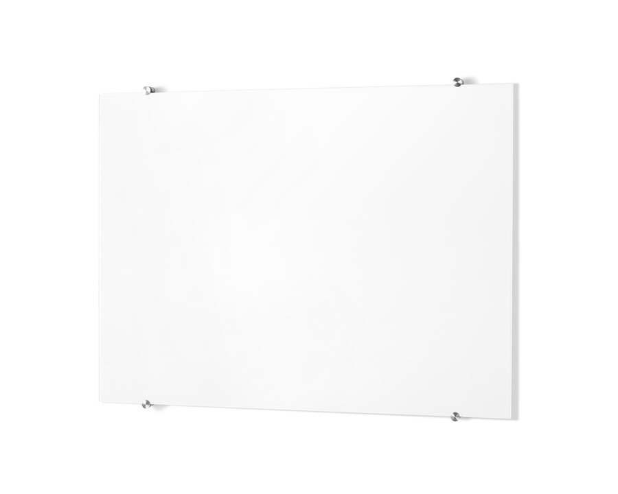 Glass White Board mounted to the wall with metal mounting brackets.