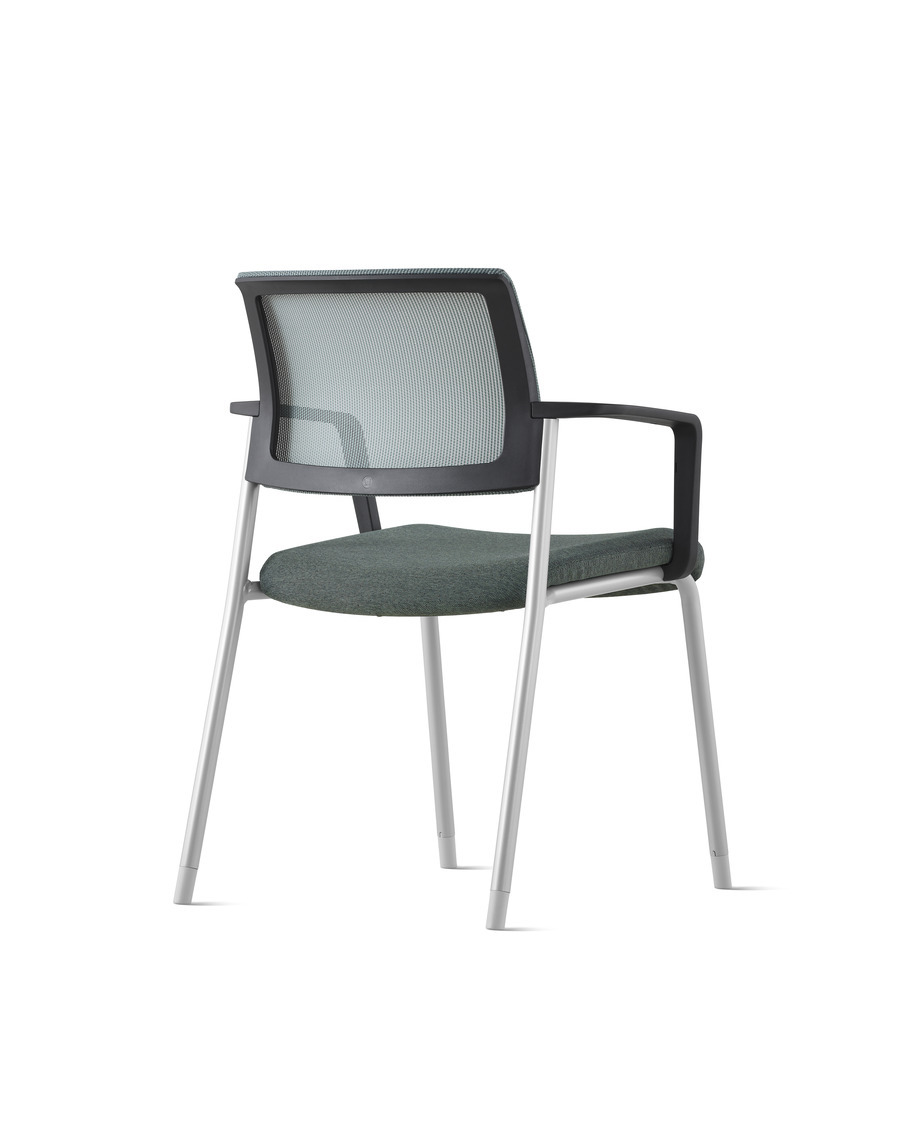 Rear view of a gray Verus Side Chair with gray suspension back and black frame with no arms.