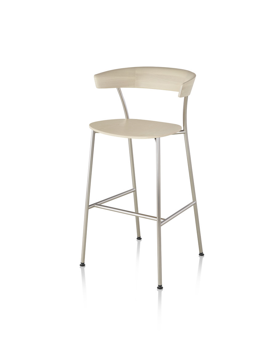 Light wood Leeway Stool, viewed from the front at an angle