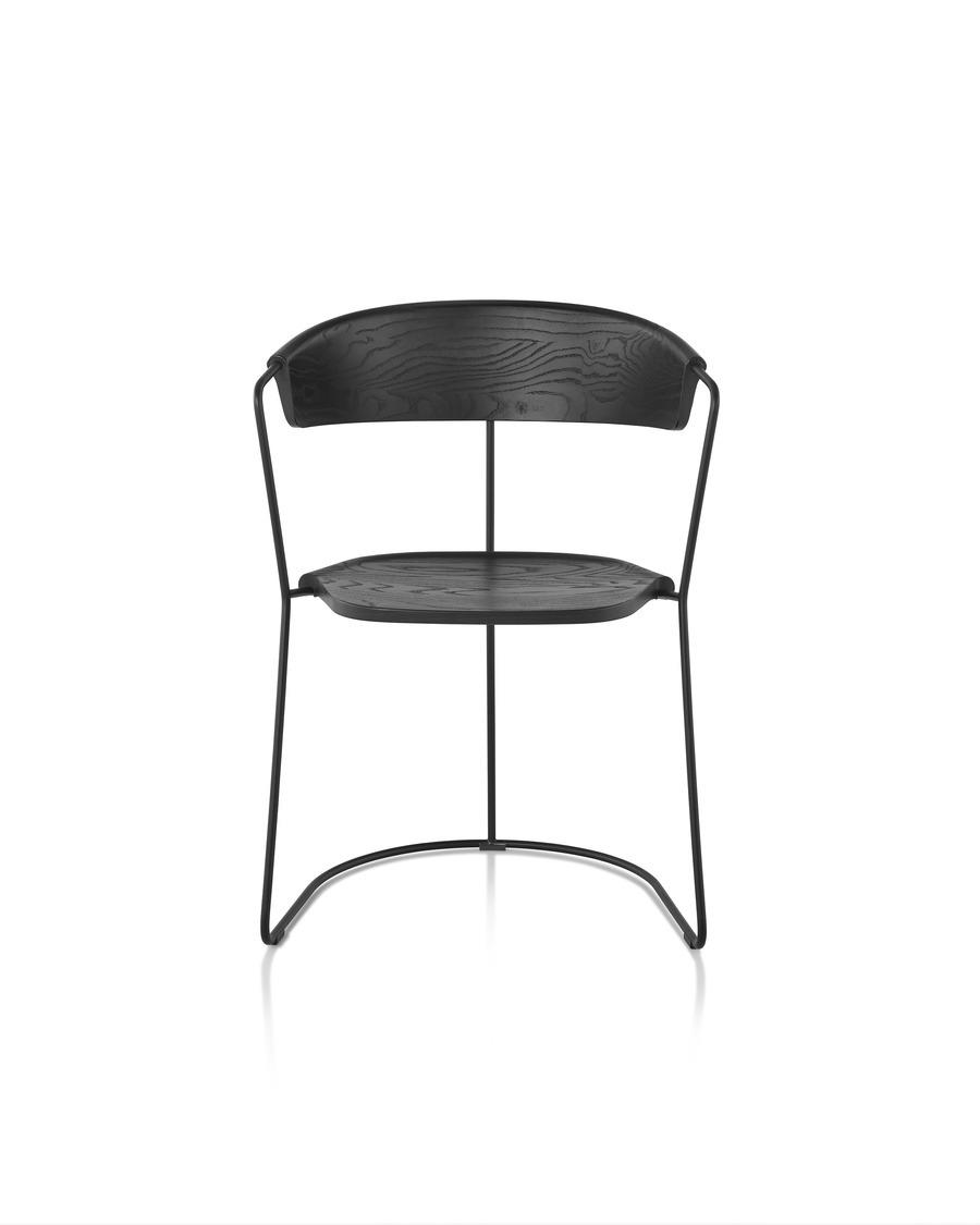 Front view of a black Mattiazzi Uncino Chair, Version C.