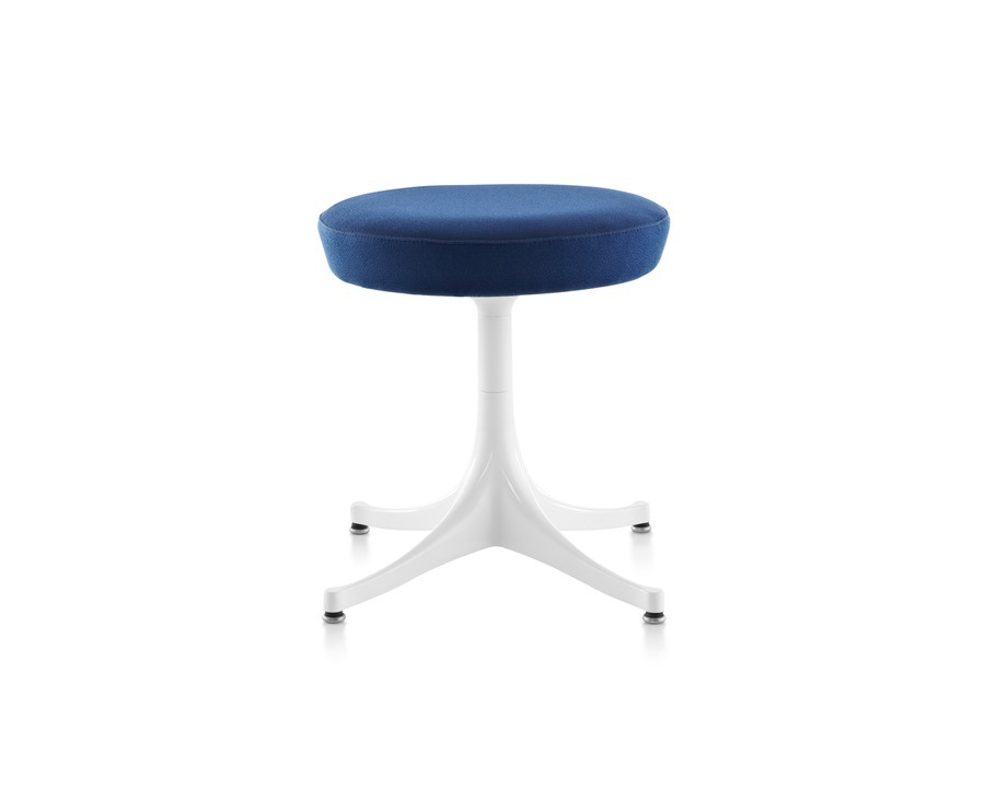 Nelson Pedestal Stool with a white base and blue seat