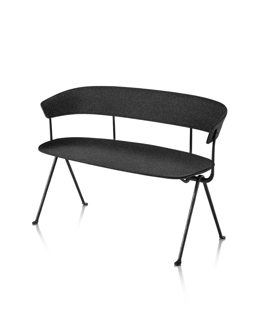 Magis Officina Bench in black beech, viewed from the front at an angle.
