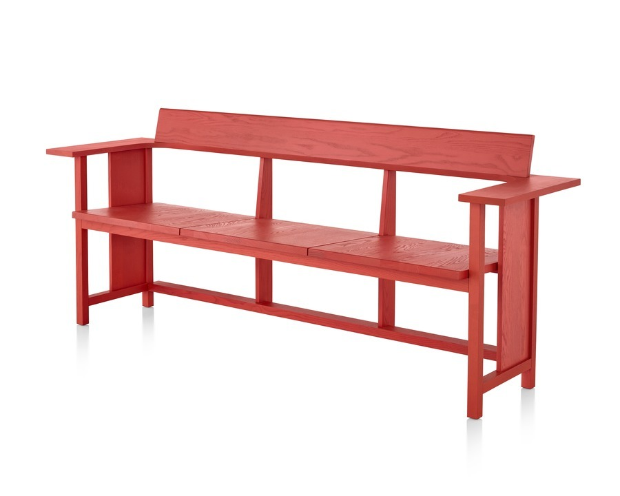A Mattiazzi Clerici three-seat bench with a red finish, viewed from a 45-degree angle.