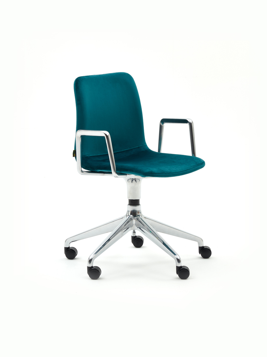 A blue upholstered naughtone Viv Chair with metal armrests and 5-star base, viewed at an angle.