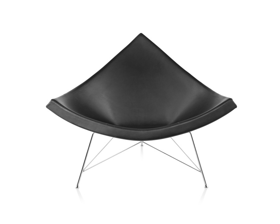 A black leather Nelson Coconut Lounge Chair, viewed from the front