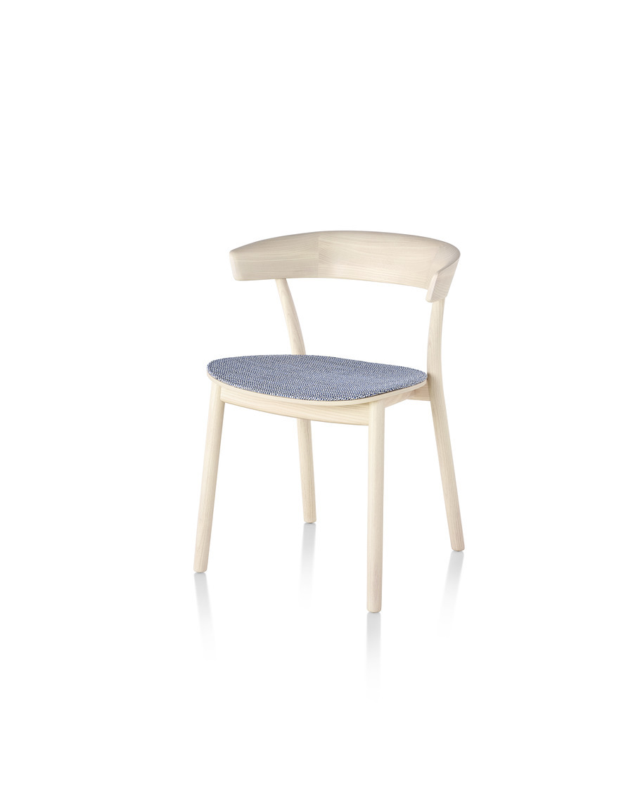 Light wood Leeway Chair with a blue and white upholstered seat, viewed from an angle.