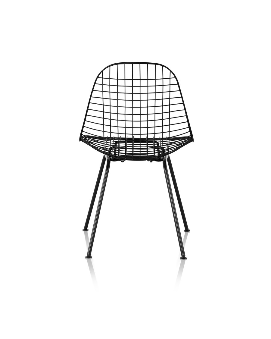 Eames Wire Chair Outdoor with black finish and wire base, viewed from the rear