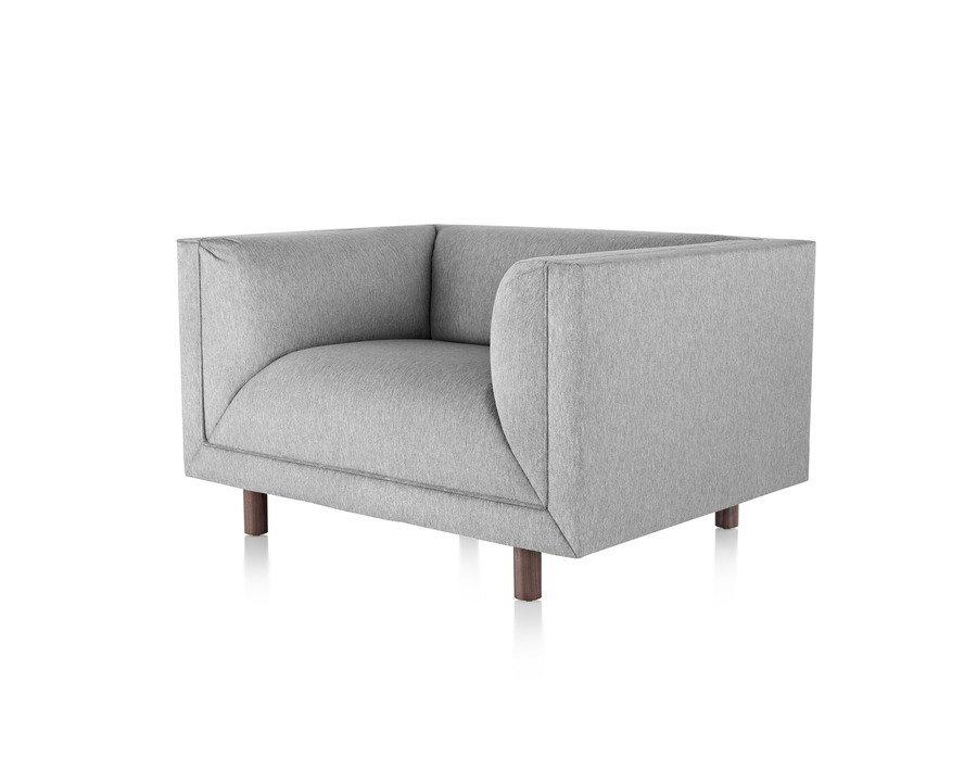 Gray Rolled Arm Sofa Group club chair, viewed from the front at an angle.