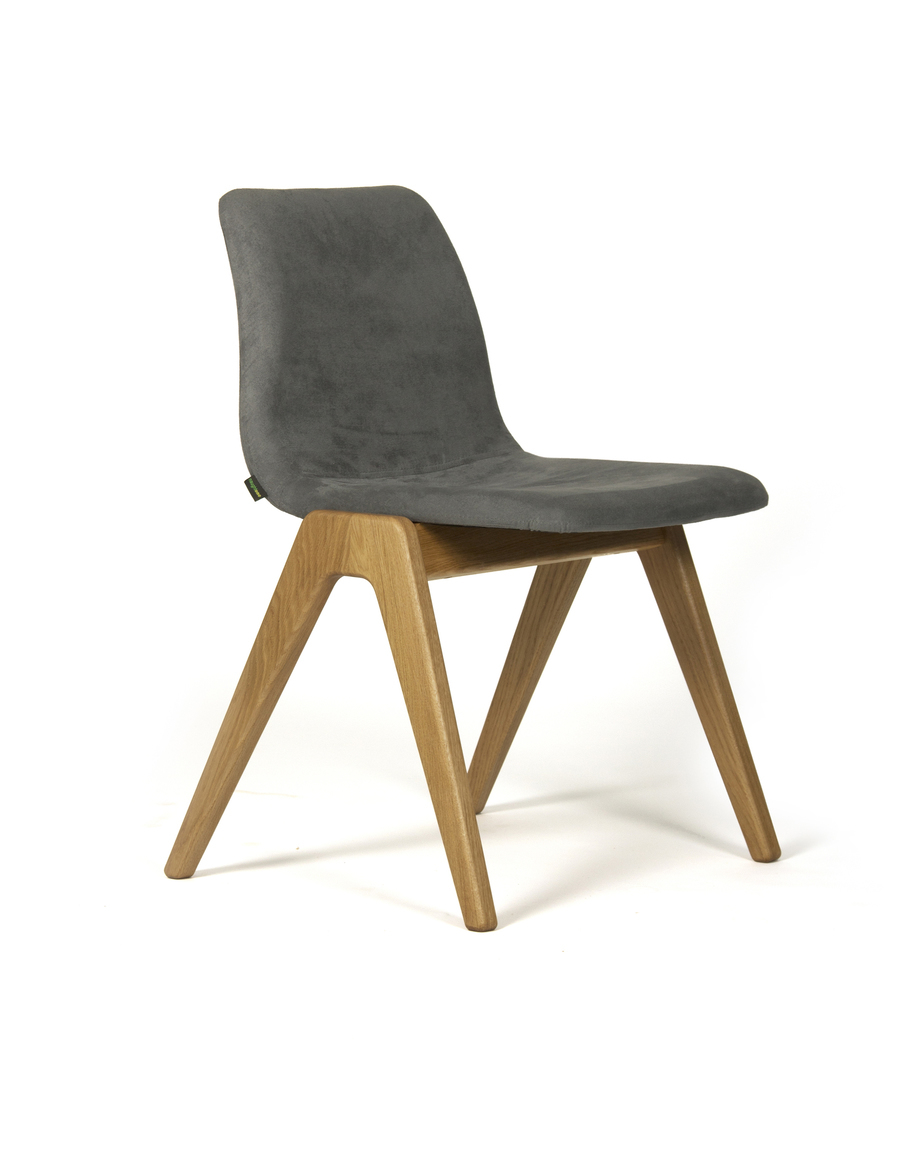 A dark gray suede naughtone Viv Wood Chair, viewed at an angle.