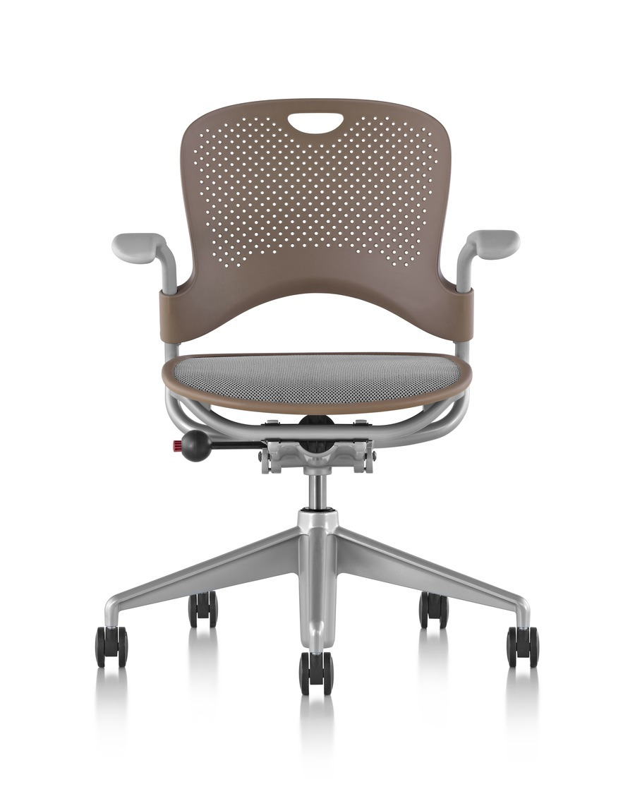 Brown Caper Multipurpose Chair with a gray seat, viewed from the front, on wheels, adjustable seat and with armrests