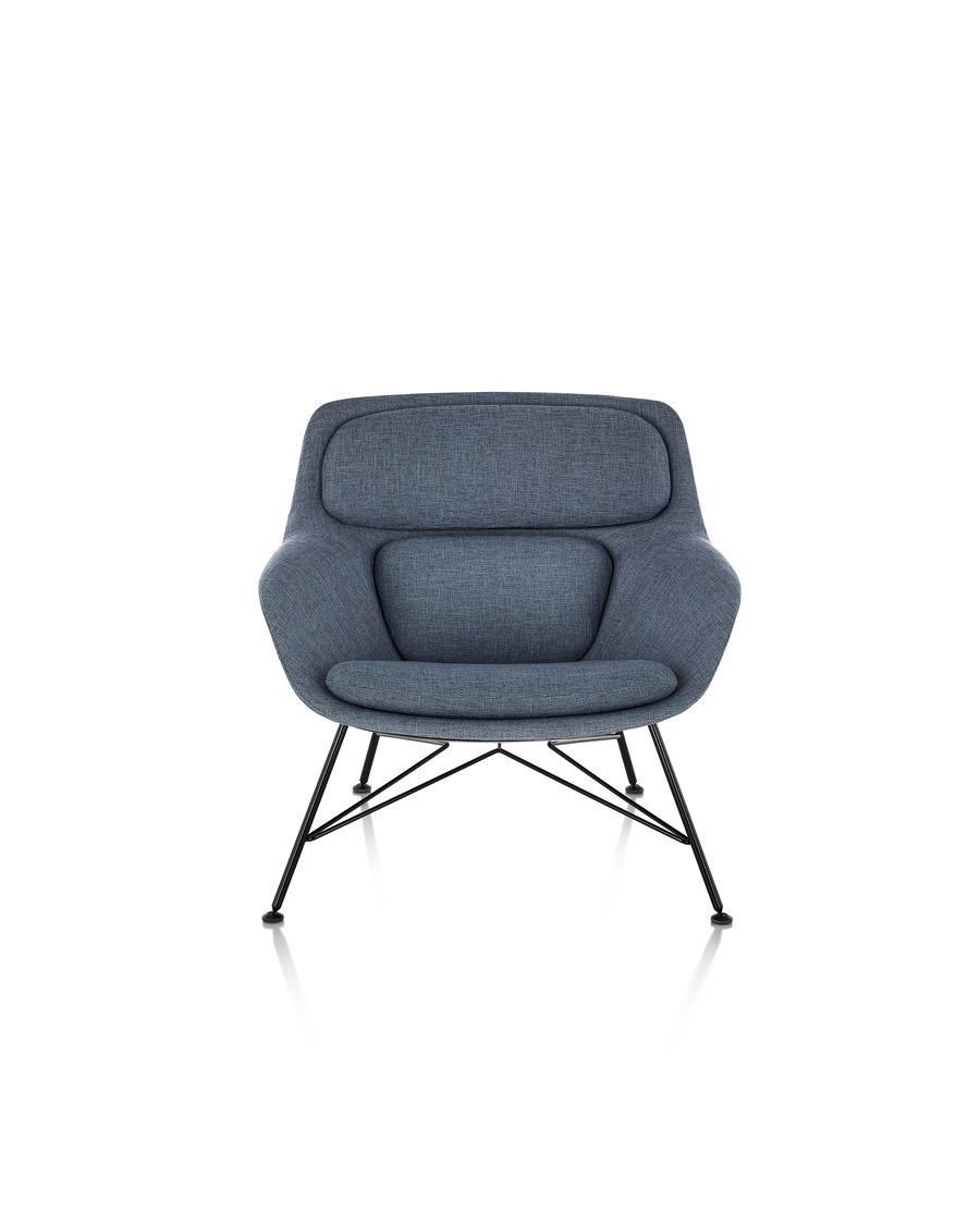 Front view of a low-back Striad Lounge Chair in blue upholstery with wire base.