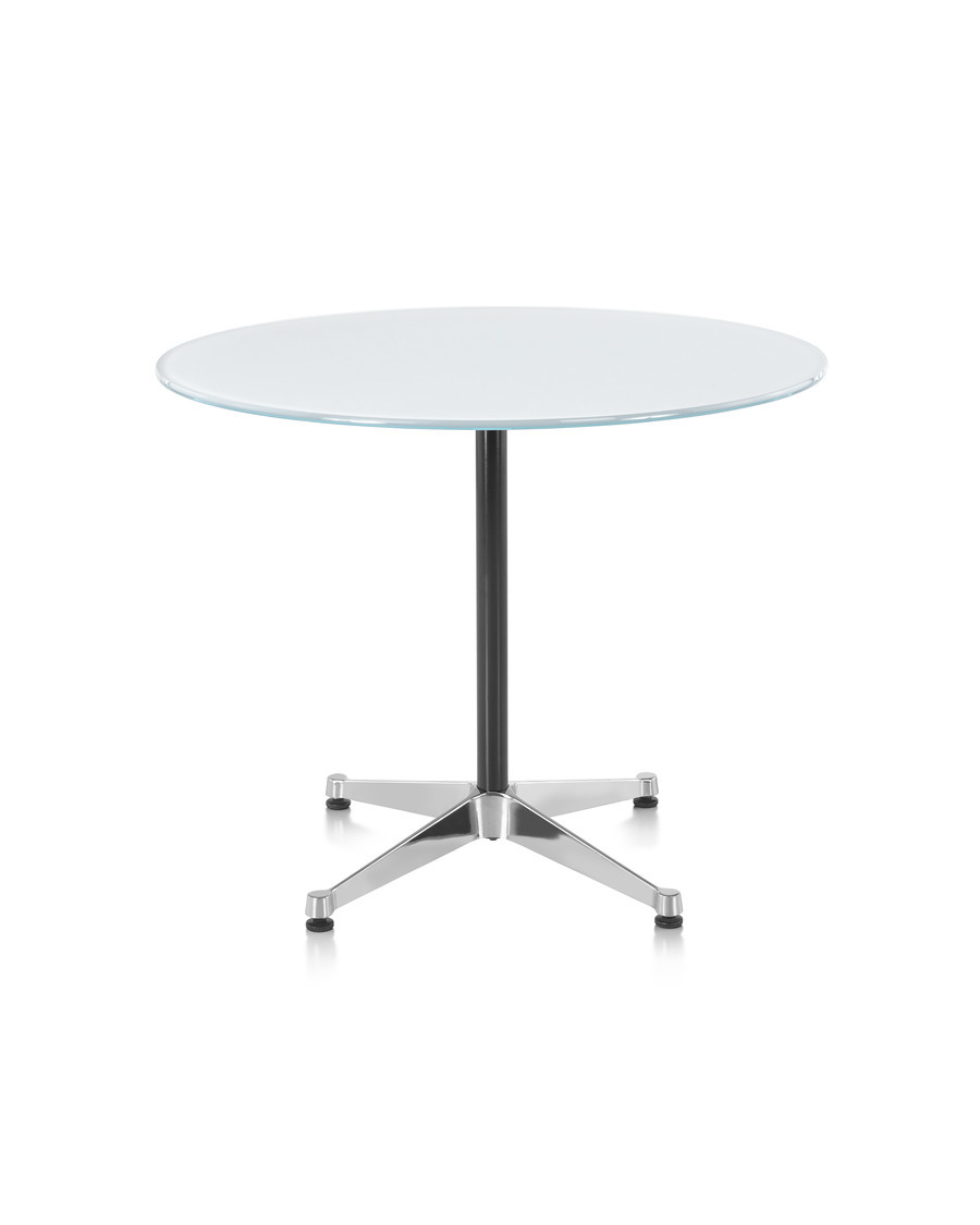 Eames Round Table, Contract Base, polished aluminum base, glass top