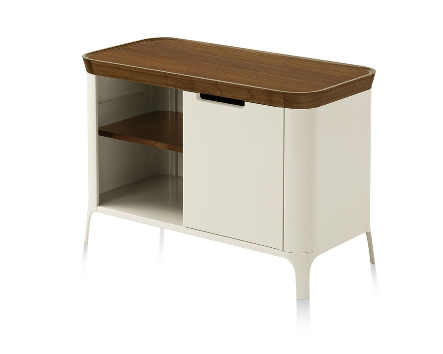 White with dark trim Airia Desk and Media Cabinet from Herman Miller, modern media cabinet, full view.