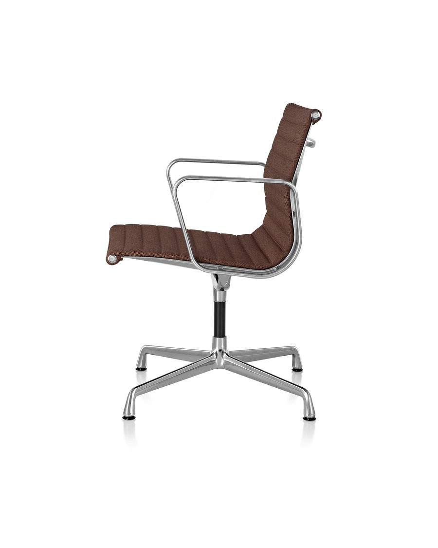 Side view of dark brown Eames Aluminum Group Management Chair with polished aluminum base and armrests