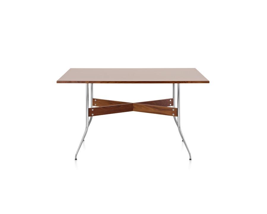 Rectangular Nelson Swag Leg table, white laminate, chrome base