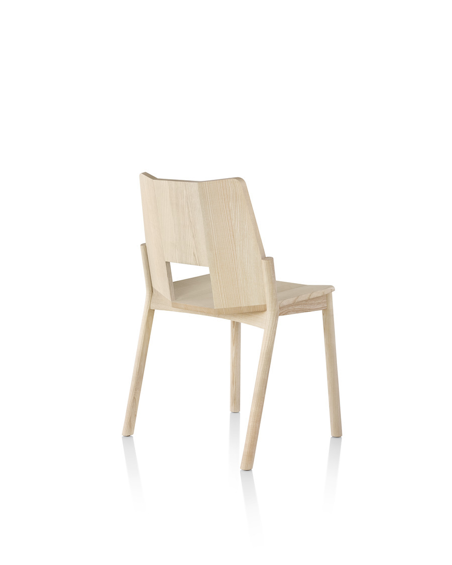 Wood Mattiazzi Tronco stackable side chair, viewed from the rear at an angle
