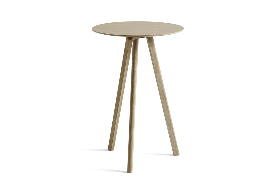 Oak Copenhague Bistro Table, viewed at an angle.