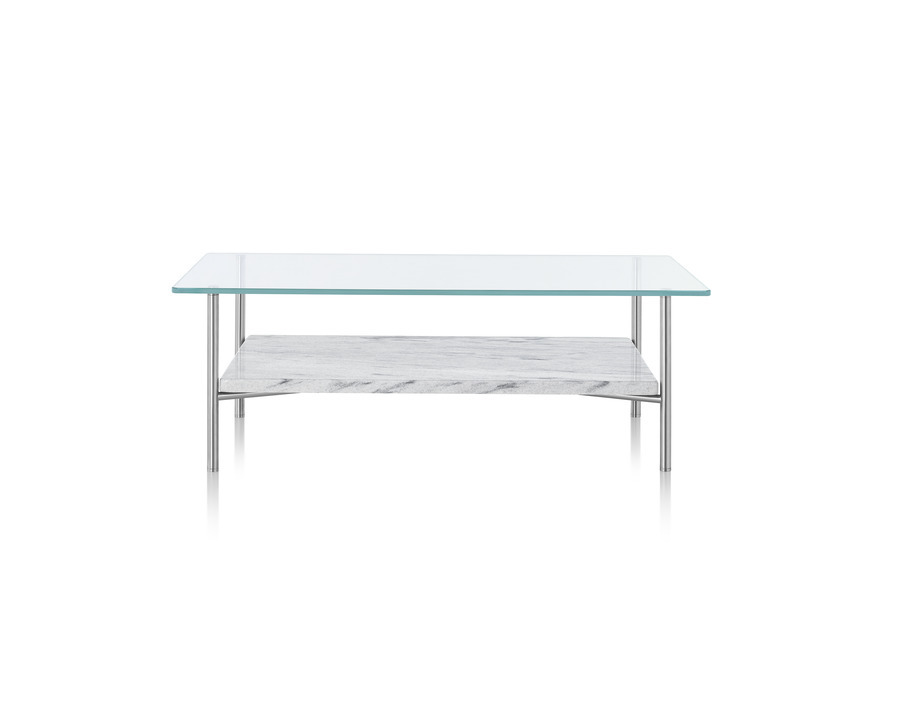 rectangular Layer occasional table with a glass top and stone lower shelf