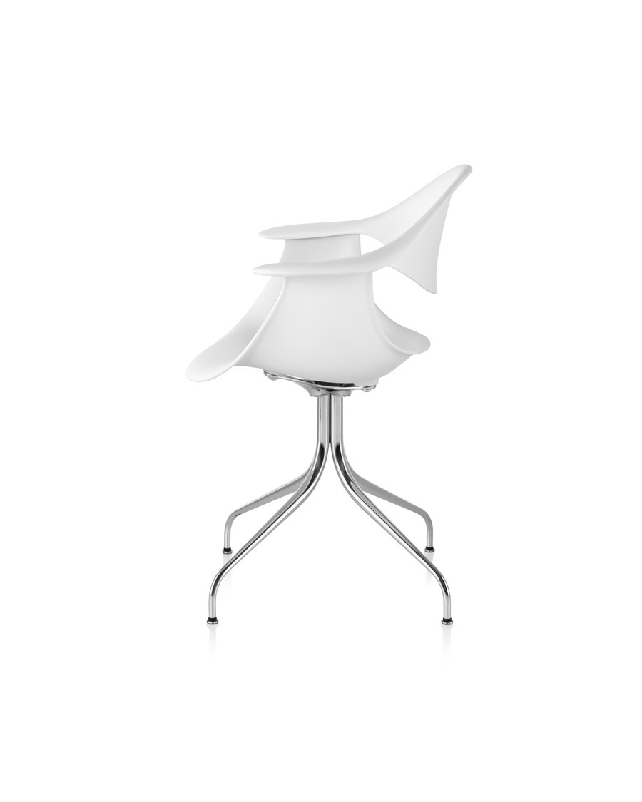 White Nelson Swag Leg Armchair, viewed from the side