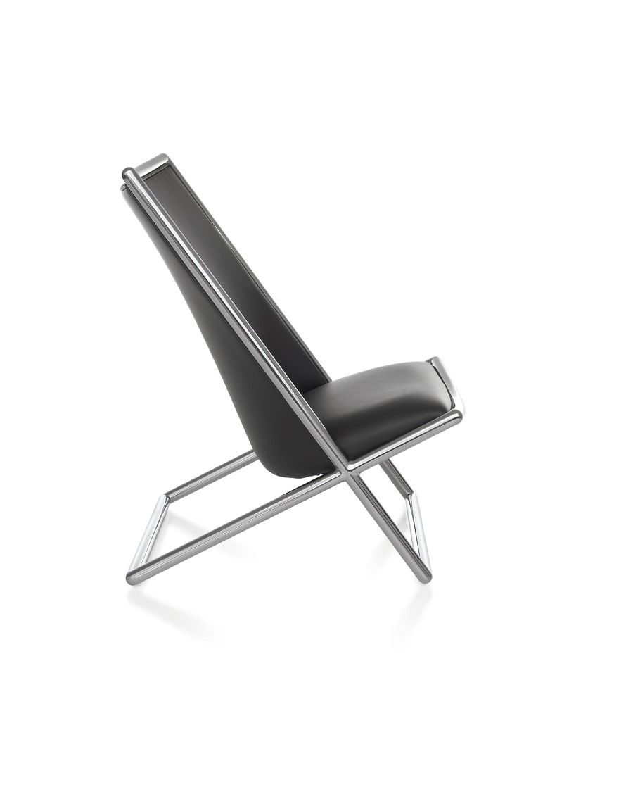 Black leather Scissor Chair with chrome frame, viewed from the front at an angle.