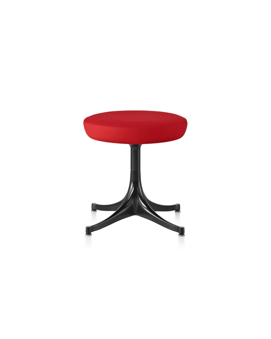 Nelson Pedestal Stool with a black base and red upholstered seat