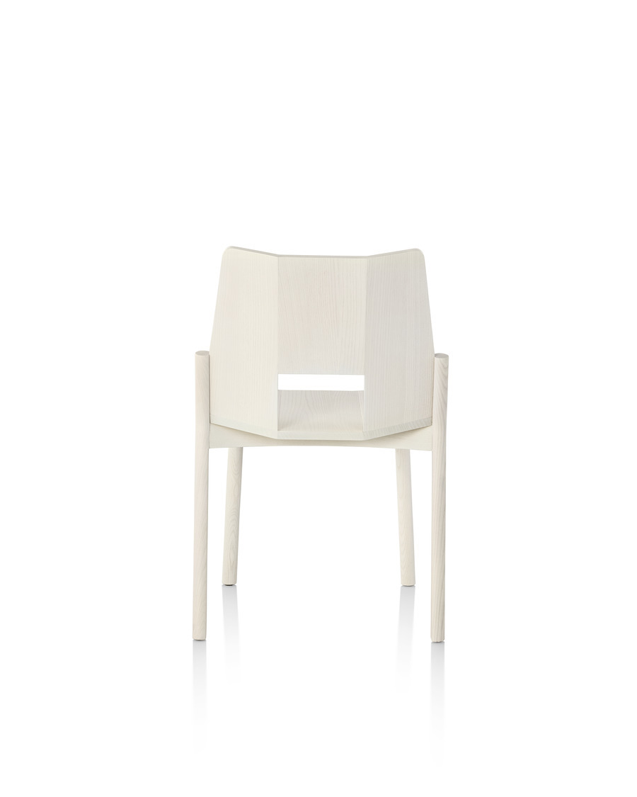 Wood Mattiazzi Tronco stackable side chair, viewed from the rear.