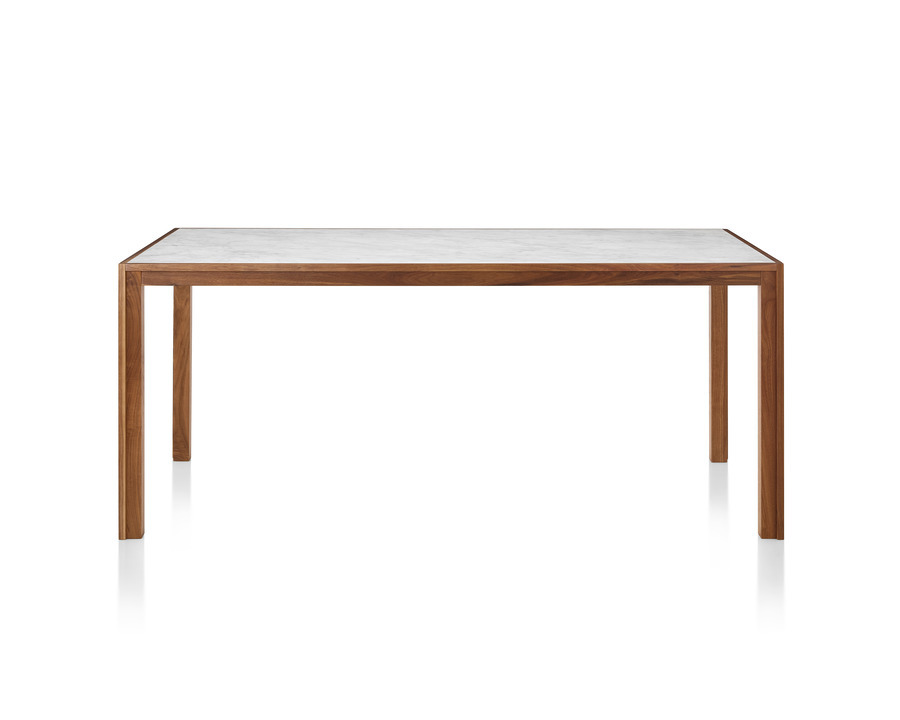 A walnut Doubleframe Table featuring a Carrara marble top, viewed from the front.