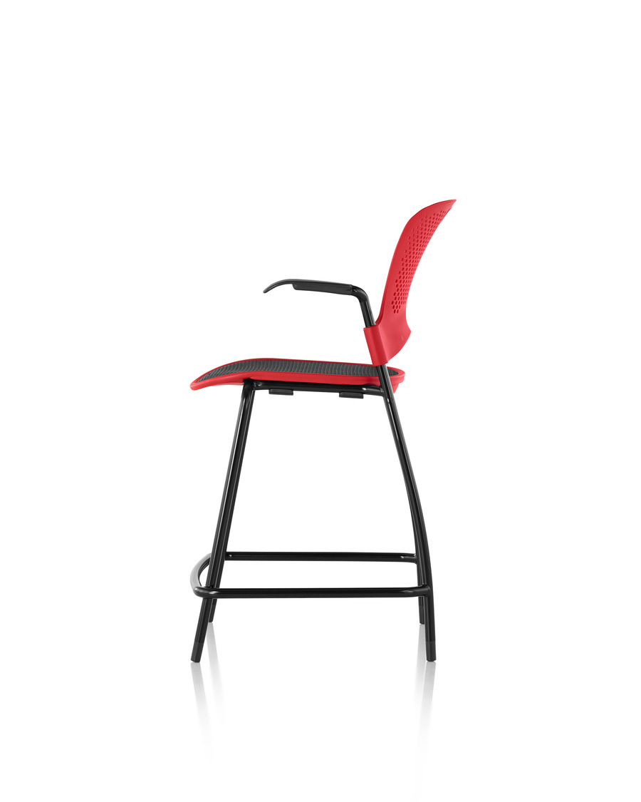 Red Caper Stacking Stool side profile