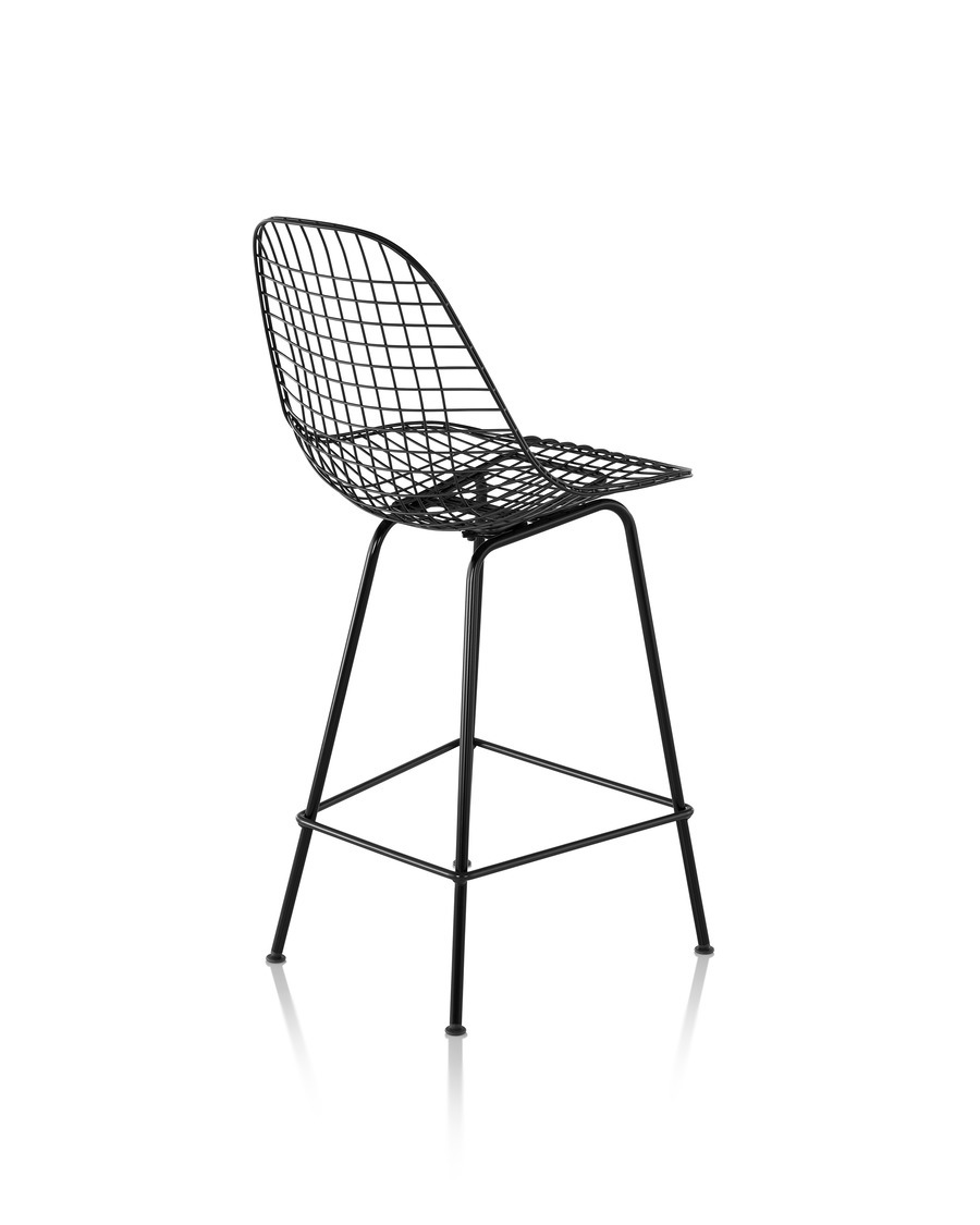 Eames Wire Stool Outdoor with black finish in counter height, viewed from rear 45 degree angle