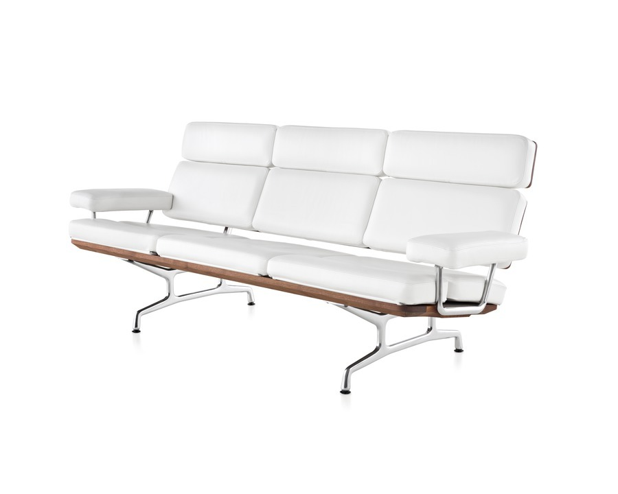 Eames Sofa in pearl MCL leather viewed from the front at an angle