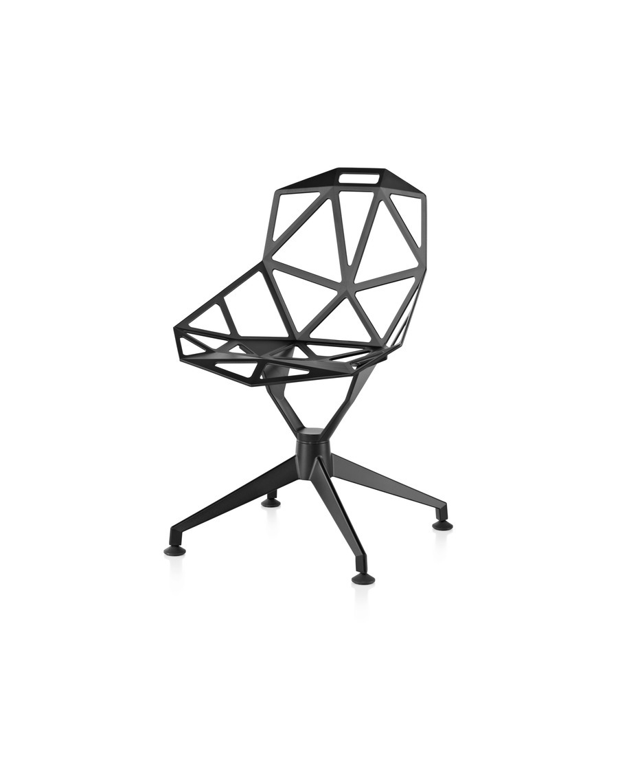 An all-black Magis Chair_One side chair with a four-star base, viewed at an angle.