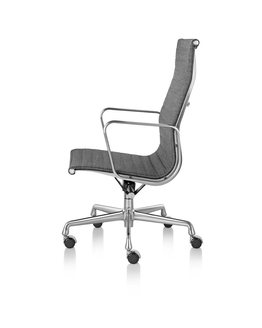 Black Eames Aluminum Group high-back executive chair, viewed from the side.