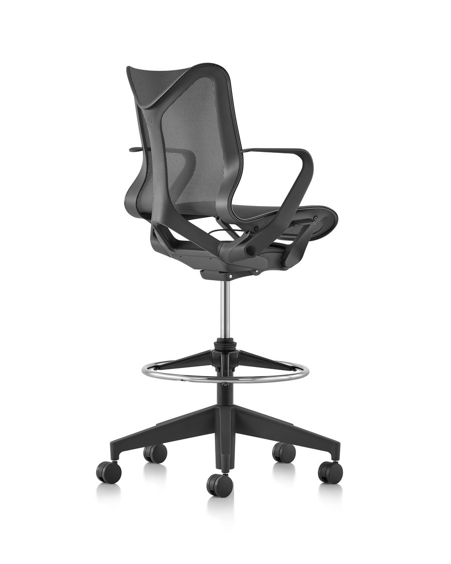 A low-back Cosm ergonomic stool in Graphite dark gray, viewed from the back at an angle..