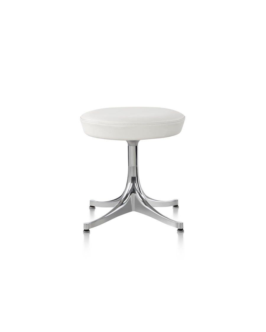 Nelson Pedestal Stool with a chrome base and white seat