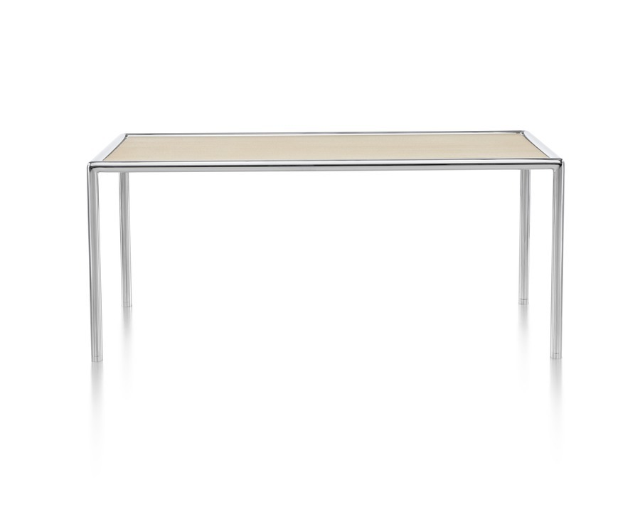 A rectangular Full Round Table with a tan top and tubular metal frame.
