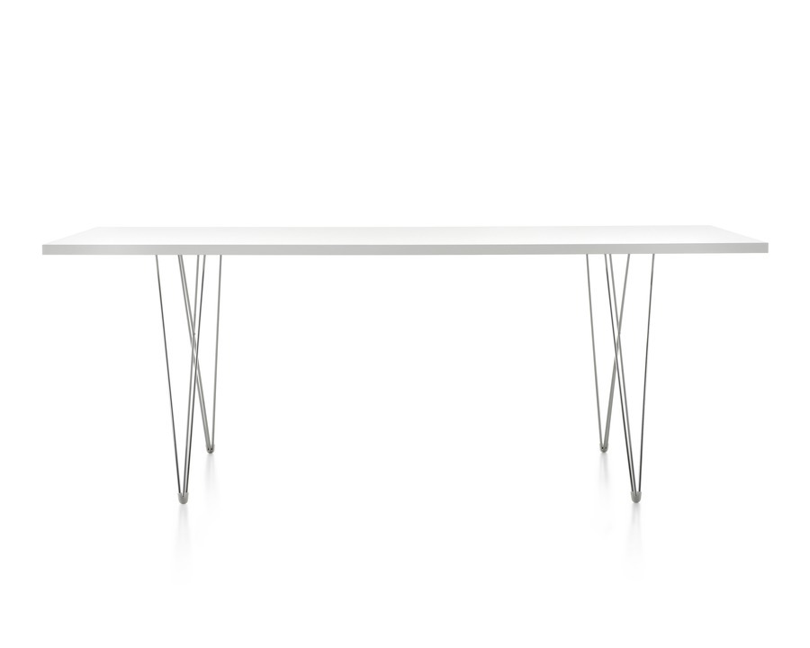 A rectangular Magis Tavolo XZ3 Table with a white top and steel rod base, viewed from the long side.