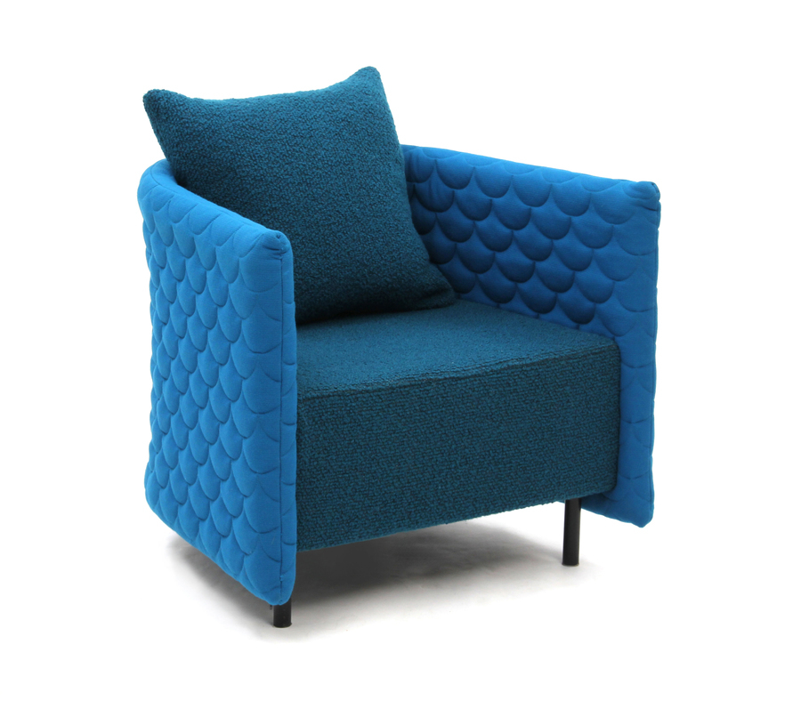 A naughtone Cloud Quilt Armchair upholstered in bright blues, viewed from an angle.