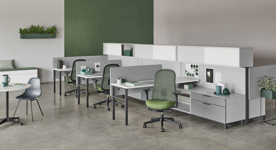 Canvas Wall green white and grey 3 desk workstations and side table