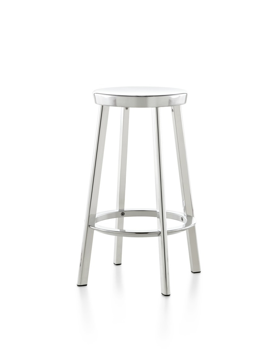 Silver Magis Deja-vu Stool viewed from the front at an angle