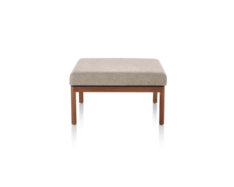 Tan Wood Base Lounge Seating Ottoman, viewed from the front.