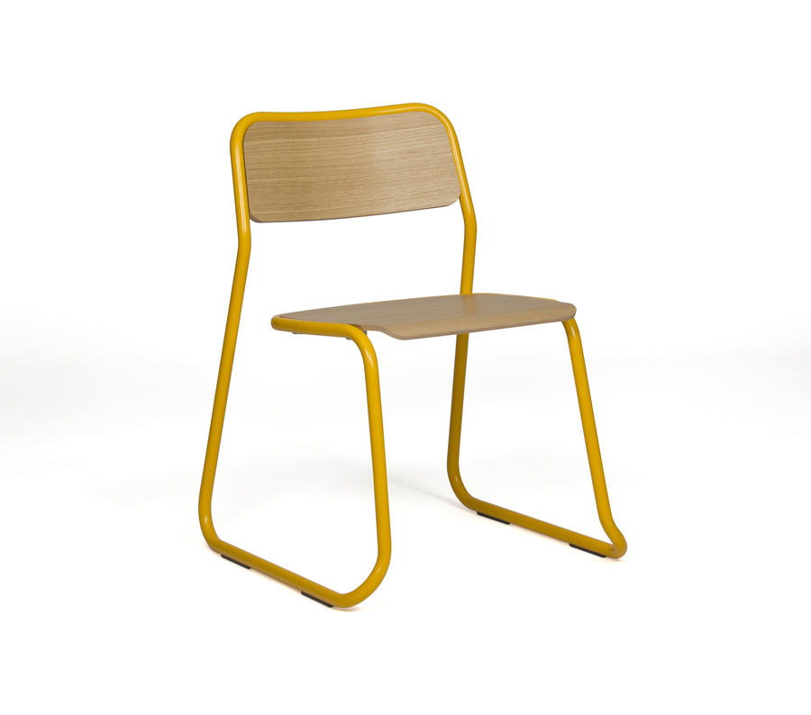 A yellow naughtone Bounce Chair, viewed at an angle