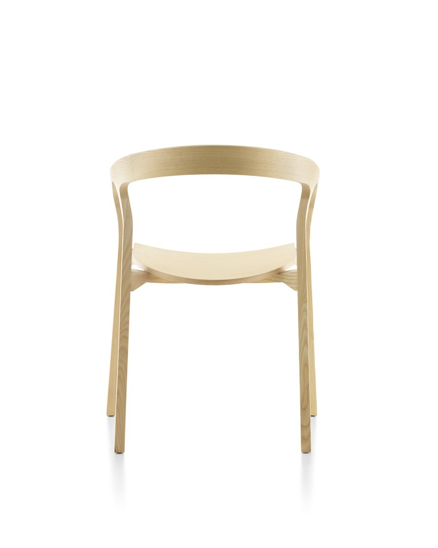 Wood Mattiazzi He Said stackable side chair with a light finish, viewed from the rear.