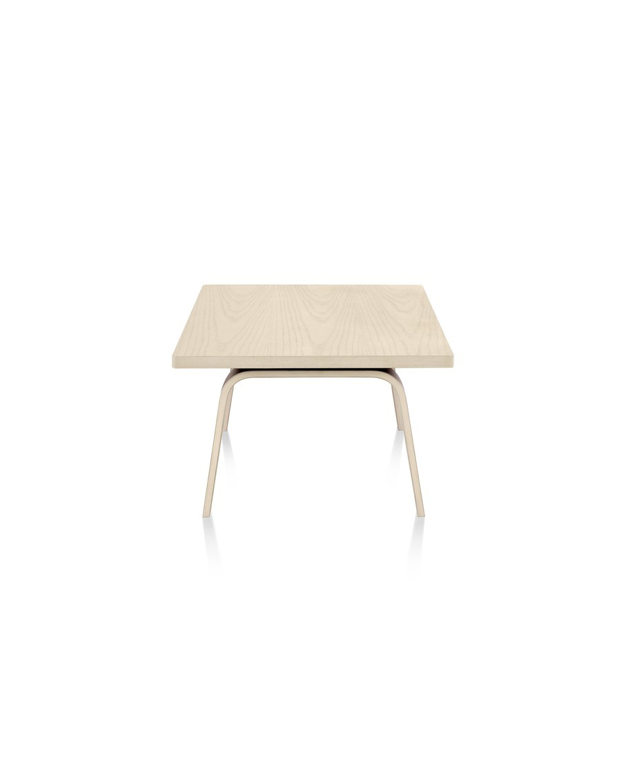 An Eames Rectangular Coffee Table with a light finish, viewed from the narrow end.