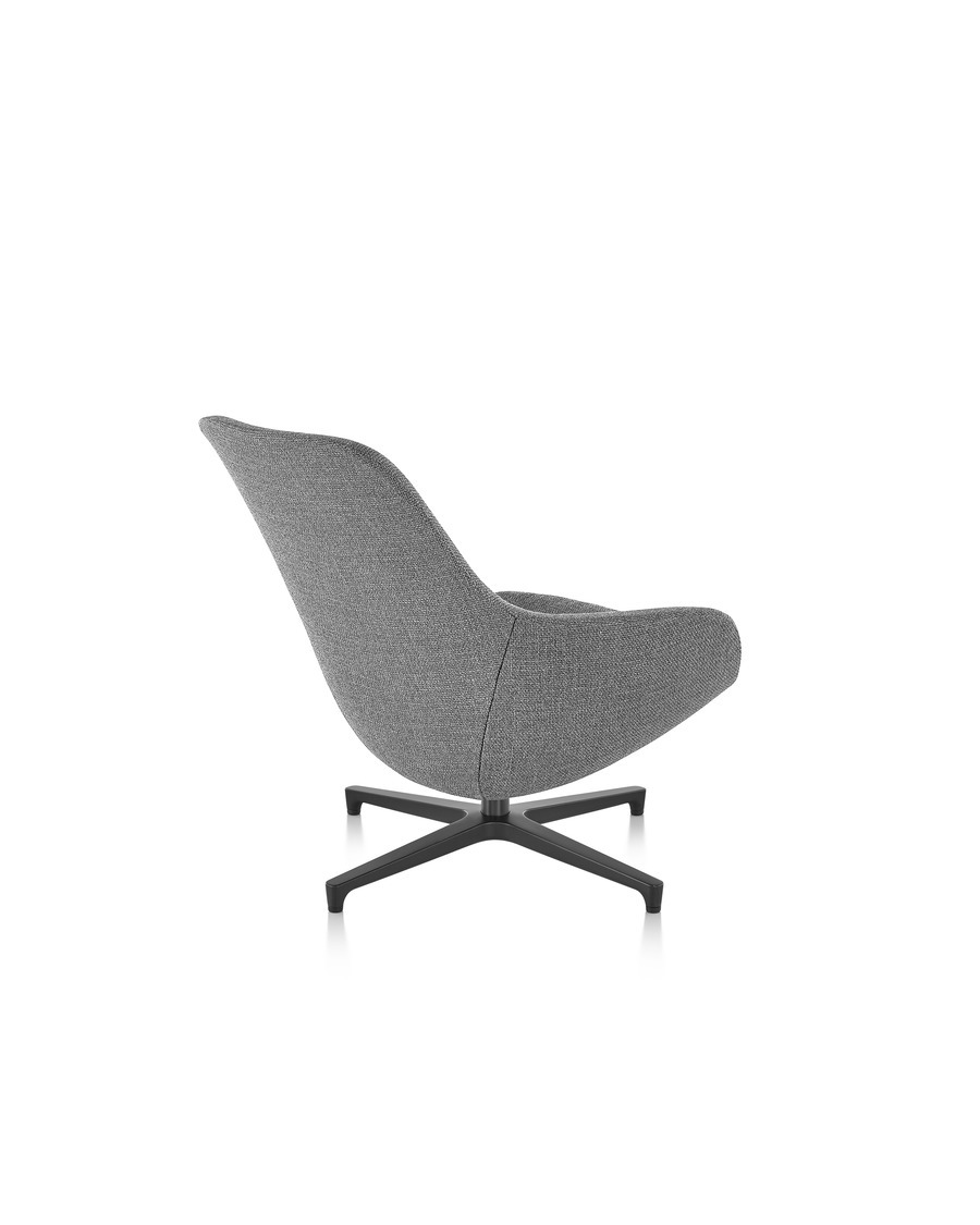 Rear view of a grey Saiba lounge chair with a black base