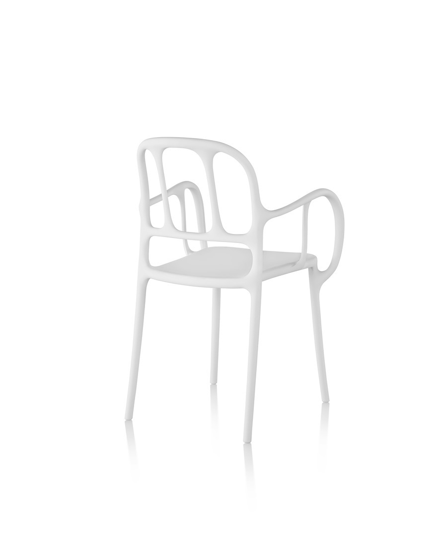 White Magis Milà side chair, viewed from the rear