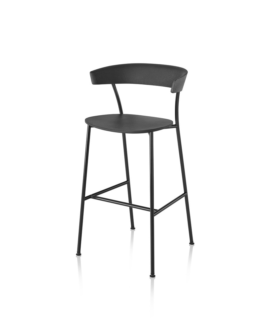 Black Leeway Stool with black metal base, viewed from the front at an angle