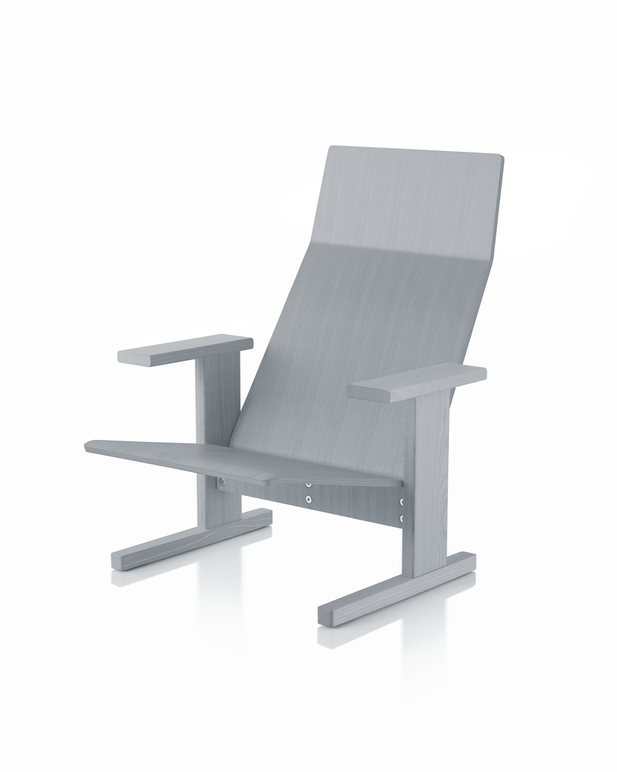 Grey anilin ash Mattiazzi Quindici Lounge Chair, viewed from the front at an angle