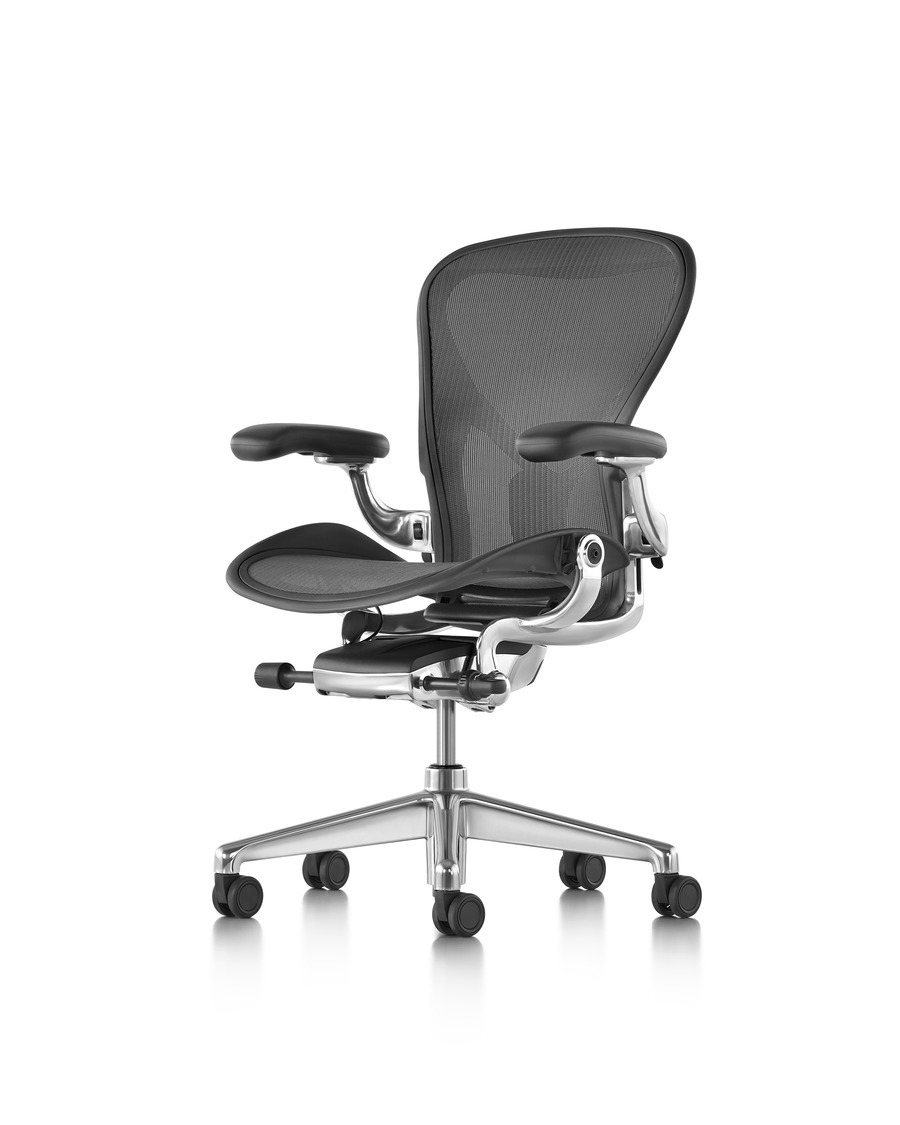 Angled side view of a black Aeron office chair with a polished aluminum base