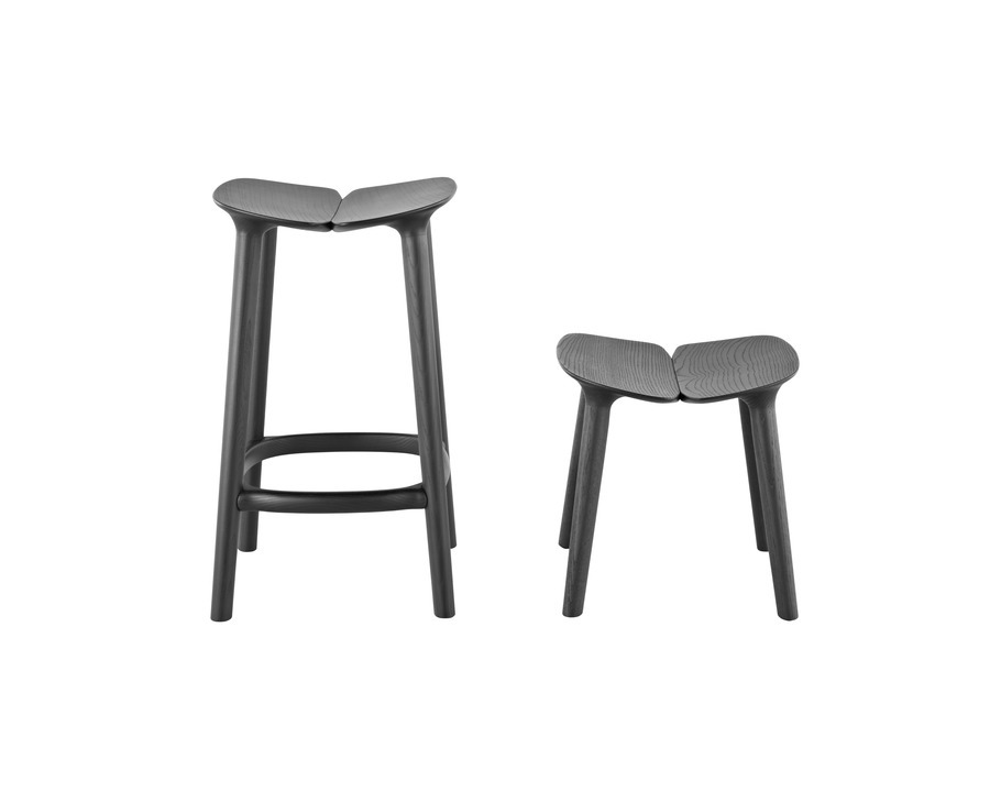 2 black Mattiazzi Osso Stools of varying heights