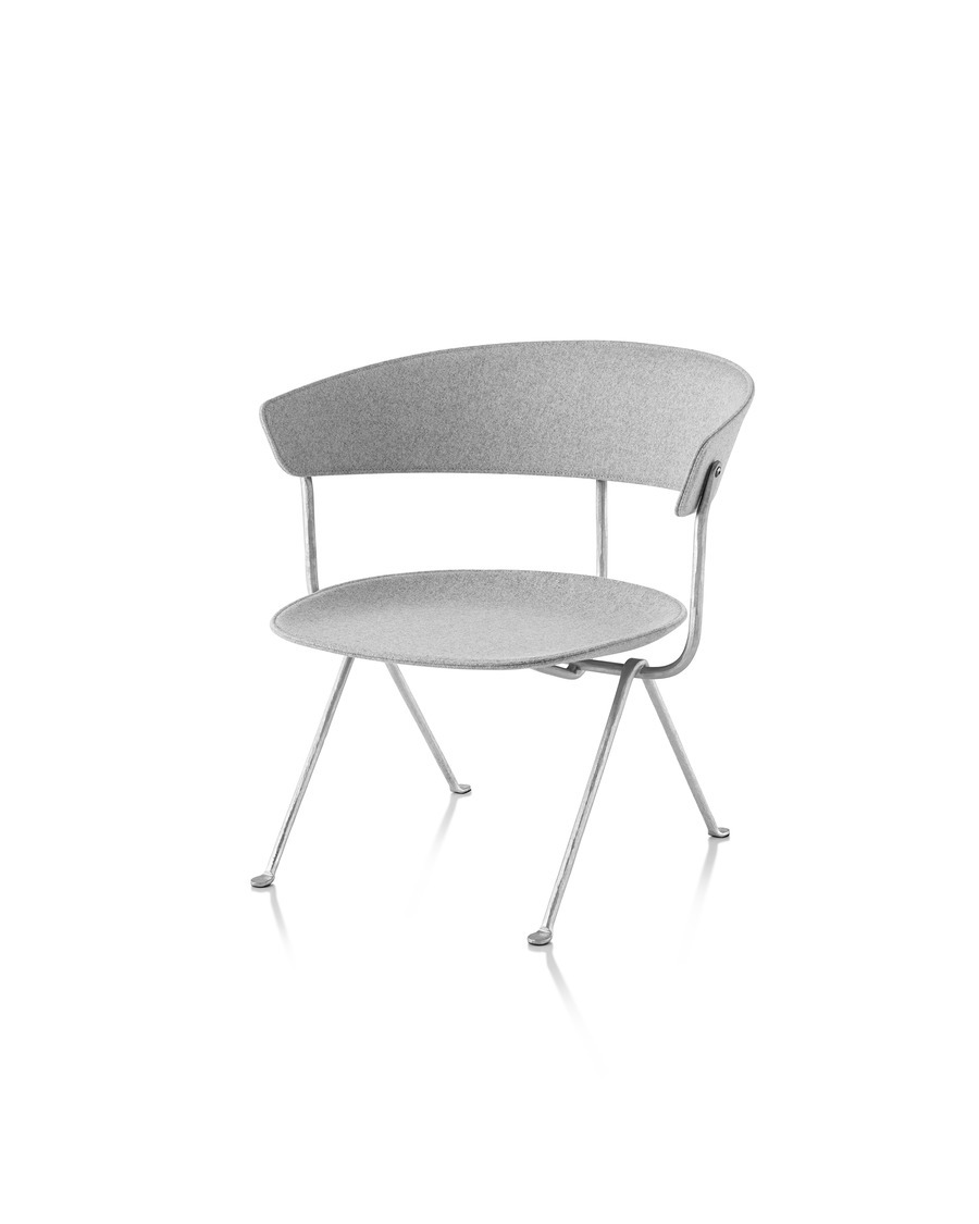 Magis Officina Low Chair in Divina Melange, viewed from the front at an angle